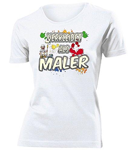 Malerkostüm Maler 5005 Kostüm Kleidung Damen T-Shirt Frauen Karneval Fasching Faschingskostüm Karnevalskostüm Paarkostüm Gruppenkostüm Weiss L