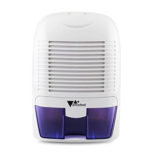 Amzdeal Deumidificatore Elettrico con 1500 ml di Serbatoio di acqua, per Eliminare l'Umidità, Mini Deumidificatore Ambiente per Cucina, Camera, Bagno, Colore: Bianco