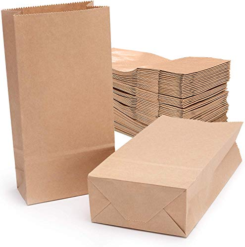 100Stk Braune Kraftpapiertüte Butterbrottüten braun Papier-Beutel Papiertüten für Basteln Geburtstag Aufbewahrung Geschenktüten Ostertüten Brote Keks Süßigkeiten 18x9x5.5cm (70gr/m²)
