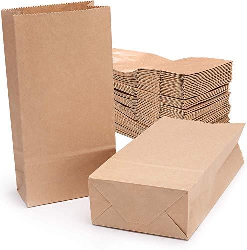 meridy 100Stk Braune Kraftpapiertüte Butterbrottüten braun Papier-Beutel Papiertüten für Basteln Geburtstag Aufbewahrung Geschenktüten Ostertüten Brote Keks Süßigkeiten 18x9x5.5cm (70gr/m²)