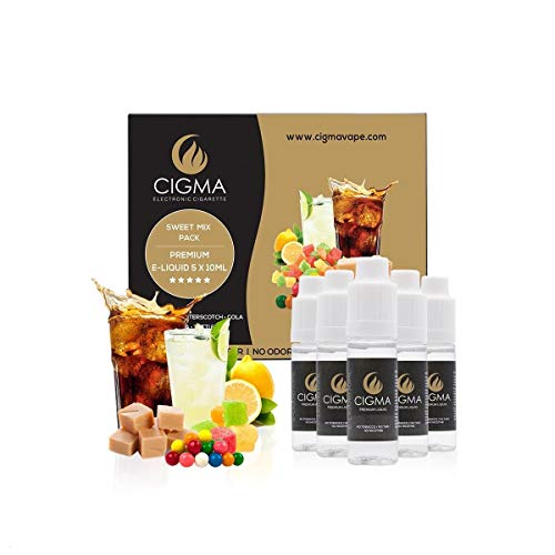 CIGMA 5 X 10ml E-Liquid Süßer Mix,0mg (Ohne Nikotin) Bubble Gum, Tutti-Frutti, Zitrone Soda, Butterscotch, Cola, Premium mit hochwertigen Zutaten, VG/PG Mix, Hergestellt für E-Zigaretten und E-Shisha