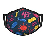 1 Pack Virus and Bacteria Bug Kids Face Mask Reusable - Breathable Comfort, Mouth Mask, Machine Washable, Face Masks for Children 5-12 - Youth Metallic
