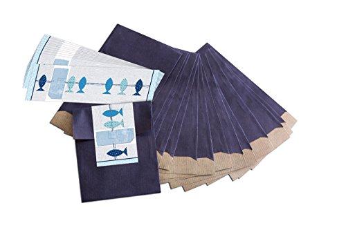 """25 kleine blaue Geschenktüten; Papiertüten (9,5 x 14 cm) mit beschreibbarem Aufkleber\""""3 blaue Fische\""""; für Taufe, Kommunion, Konfirmation, Hochzeit uvm."""