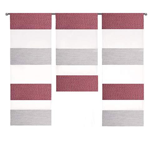 Design Mini Flächenvorhang Set rot grau 2280-09 | 3 Teile | Scheibengardine Gesamtbreite 90cm (3x30cm) Höhe 80/60/80cm