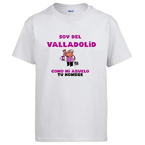Camiseta Soy del Valladolid como mi Abuelo Personalizable con Nombre ilustrado por Jorge Crespo Cano - Blanco, XXL