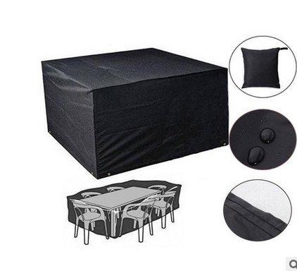 JUNGEN Meubles Table Couvertures Polyester Housse de Protection pour Meubles Extérieurs Oxford Bâche de Protection De Table De Patio Noir 213 * 132 * 74cm (Noir M)