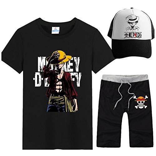 Maglietta One Piece Uomo Donna, 3D Luffy Zoro Ace Anime Cosplay T Shirt + Pantaloncini + Cappello Moda One Piece Manica Corta Tee Maglia Shirt Camicia Camicetta Tops per Adulto Bambino (9,Uomo-M)