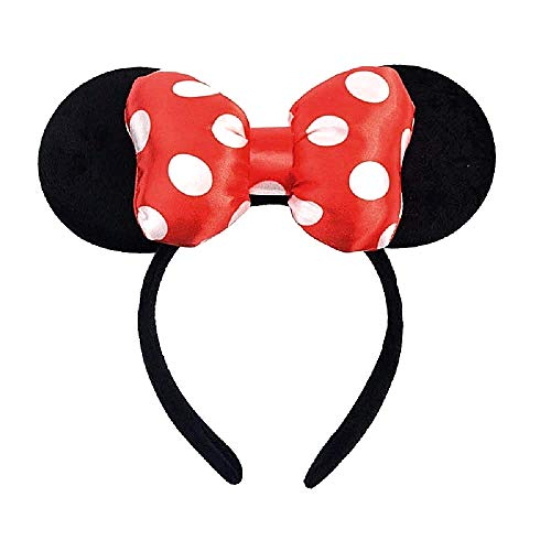 Diadema con orejas de Mickey Mouse negro – Minnie Mouse – lazo suave –...