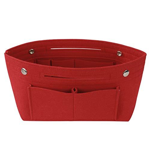 Feltro Organizer da Borsa Donne Interno Borsa Organizer Organizzatore Multiuso Feltro Sacchetto Cosmetico per Borsa Bag in Bag 24 x 16 x 9cm Rosso