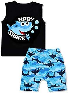 Conjunto de ropa para bebé, chica, estampado de tiburón, de algodón sin mangas, pantalones cortos y pantalones cortos
