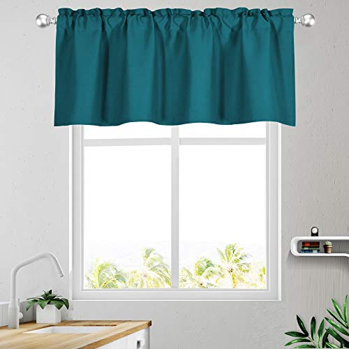 KEQIAOSUOCAI Teal Valances 18 Inch Blackout Window Rod Pocket Valances Curtains for Kitchen Bedroom Living Room 52 Inches Wide by 18 Inches Long 1 Panel