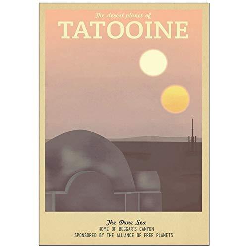 NOVELOVE Wandkunst Bild TV Drama Cartoon Szene Tatooine Retro Poster HD Druck Leinwand Malerei Geschenk Ohne Rahmen 50 * 70 cm