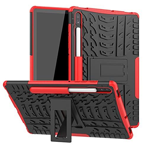 SZCINSEN Funda para tablet Samsung Galaxy Tab S6 10.5/T860 con textura de neumáticos a prueba de golpes TPU+PC funda protectora con asa plegable (color: rojo)