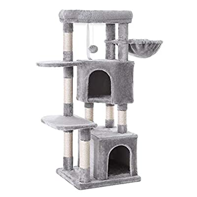 FEANDREA Cat Tree, Cat Tower, Scratching Posts, 47.2 Inches, Light Gray UPCT80W