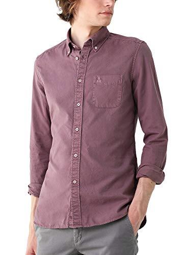 Scalpers Camicia Garment Dye Bottoni - Burgundy / 42