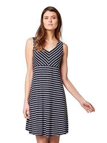 TOM TAILOR Damen Kleider & Jumpsuits Kleid mit Streifenmuster Navy Stripe,38