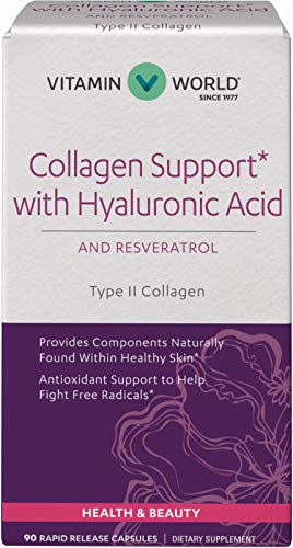 Vitamin World Collagen Support with Hyaluronic Acid 90 Capsules, Supports Healthy Skin, Antioxidant Support, BioCell Type II Collagen, Resveratrol, Grape Seed Extract, Rapid-Release, Gluten Free