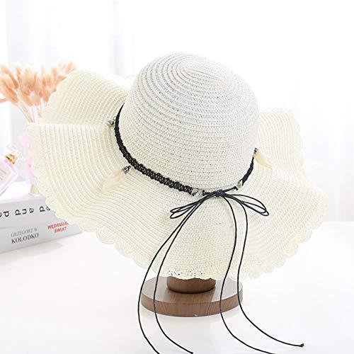 MJLOMJ Sombrero de Sol Las Señoras, Sombrero Playa de la Solarera de Verano,el Cordón Cuero Tejido conSombrero de Paja Transpirable, Plegable, UPF 50 + Falda Onda Grande Sombrero de Sandalia,4