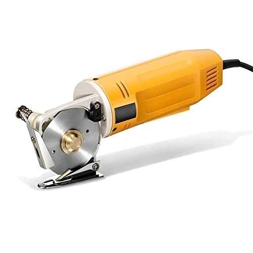 MFFACAI Stoffschneidemaschine 70mm Tragbare Elektrische Schere Mini Cutter Round Blade Auto Textilschneidemaschine (gelb)