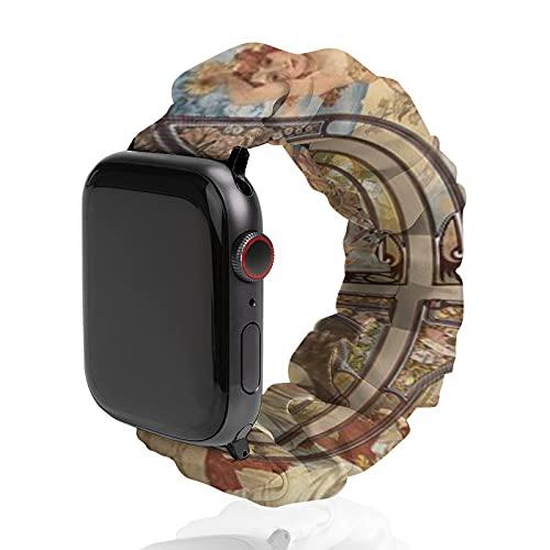 Correa de repuesto para hombre y mujer, compatible con Apple Watch de 42 mm/44 mm, suave y elástica para iWatch Series SE 6/5/4/3/2/1, Times Of The Day Alphonse Mucha