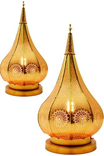 2er Set Orientalische kleine Tischlampe Lampe Kais 38cm Gold E14 | Marokkanische Tischlampen klein aus Metall, Lampenschirm | Nachttischlampe modern, für Vintage, Retro & Landhaus Stil Design