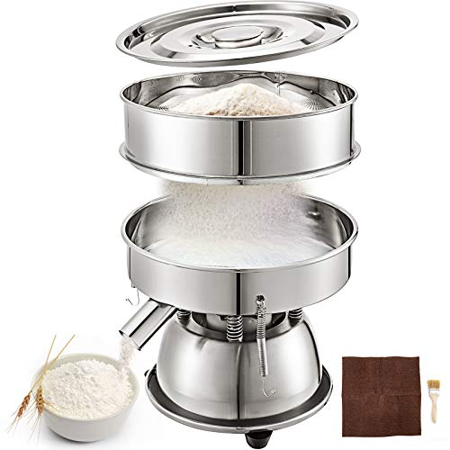 VBENLEM Automatic Sieve Shaker Included 30 Mesh + 50 Mesh Flour Sifter Electric Vibrating Sieve Machine 110V 50W Sifter Shaker Machine 1150 r/min for Five Cereals Flour Powder Particles