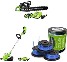 Greenworks 14-Inch 40V Cordless Chainsaw, 2.0 AH Battery Included CS40L210 with 13-Inch 40V Cordless String Trimmer, 2.0 AH Battery Included 21302 and .065-Inch Single Line String Trimmer Replacement Spool 3-Pack 29252