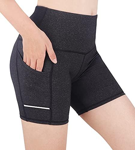 Leggins Cortos Mujer Mallas Cortas Mujer Pantalones Cortos Mujer Deporte Pantalon Corto Deporte Mujer Pantalón Corto Yoga Cintura Alta Ciclismo Correr Bolsillos Laterales Reflectantes (Gris1/3, S)