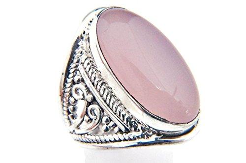 Ring Silber 925 Sterlingsilber Rosenquarz rosa Stein (Nr: MRI 83), Ringgröße:62 mm/Ø 19.7 mm