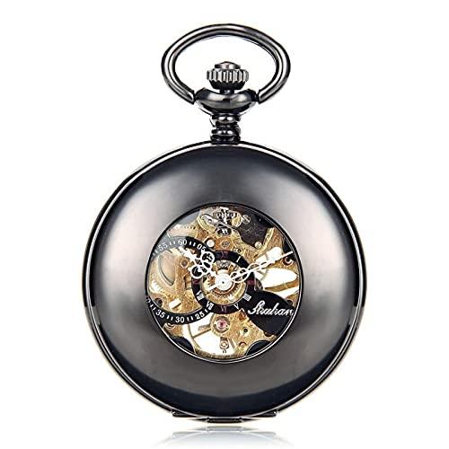 HHTD Reloj de Bolsillo Retro Mecánico Reloj de Bolsillo para Hombre Flip Circular Circular Hollow Hollow Reloj mecánico es fácil de Leer Tiempo Regalos de cumpleaños de la graduación de Navidad