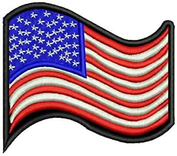 USA Flag Waving Red White and Blue with Black Small Patch for Jacket Vest