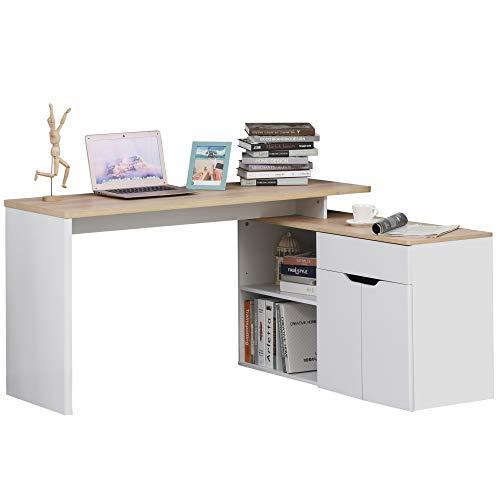 HOMCOM Eckschreibtisch Winkelschreibtisch PC-Tisch Computertisch Bürotisch mit Regal und Schublade L-Form P2 Spanplatte Weiß+Natur 140 x 117 x 76 cm