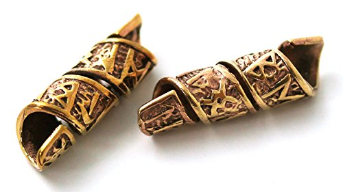 Bronze Norse Viking Celtic Beard Beads Rings, Medieval Dwarf Dreadlock Pirate Hair Beads, Pagan Jewelry