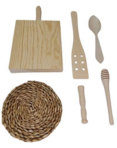 Set 6 utensilios de madera para cocina decorativos juego pequeños enseres para cocinar cuchara de madera tabla de cortar...