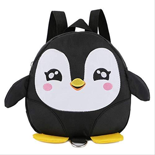 PXNH Anti Lost Toddle Bambini Zaino per bambini Zaino di sicurezza carino Cinturino regolabile Cerniera Regalo Pinguino Zaino 19 * 20 * 7 cm Nero