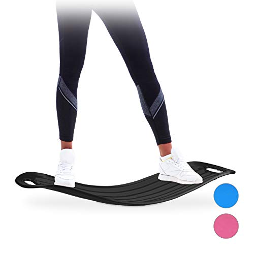 Relaxdays Tavoletta Propriocettiva, Balance Board Allenamento Total Body Tavola XL Resistente Fino a 150 kg Nera, Unisex Adulto, Nero