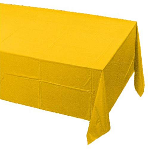 Creative Converting Touch of Color Plastic Lined Table Cover, 54 by 108-Inch, School Bus Yellow