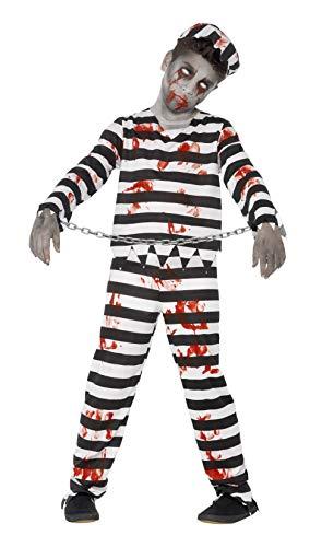 Smiffys Costume condamné zombie, avec haut, pantalon, chapeau & revers poignets,Noir/Blanc,M