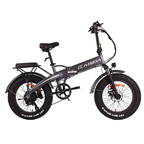 KAISDA E-Bike Electric Bike, Elektro Elektrofahrräder Klapprad 20 * 4 Zoll Fat Reifen Faltbar Tragbares, Shimano 7-Gang 500W 48V 10Ah Akku Endurance 60km Ebike für Herren und Damen
