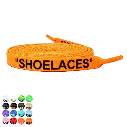 NODC NF シューレース 高級オフセット印刷 SHOELACES 靴紐 120cm 160cm 平紐 文字入り (120cm, オレンジ×ブラック)