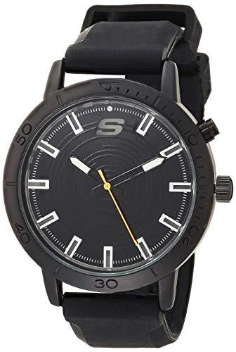 Skechers Men's Dunfield Alloy Steel Quartz Watch with Silicone Strap, Black, 22 (Model: SR5140)