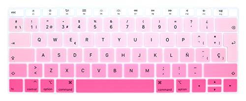 MMDW - Funda para teclado ESP español compatible con MacBook Air 2018 [13.3 pulgadas A1932 con pantalla Retina y Touch ID] protector suave de silicona versión europea del Reino Unido
