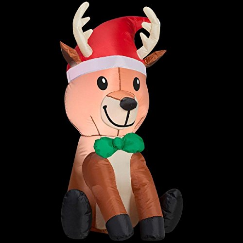 Gemmy Christmas Inflatable 3.5' LED Reindeer with Santa Hat & Bowtie
