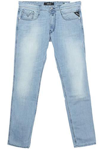 Replay Herren Jeans Slim Fit Anbass Light Blue Schrittlänge L32, Größe W34/L32