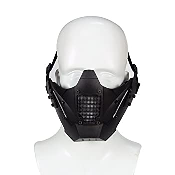 Simways Half Face Lower Mask Mesh Tactical Metal Steel Mask Can Work with Fast Helmet Used for Airsoft Paintball Hunting Shooting  Black