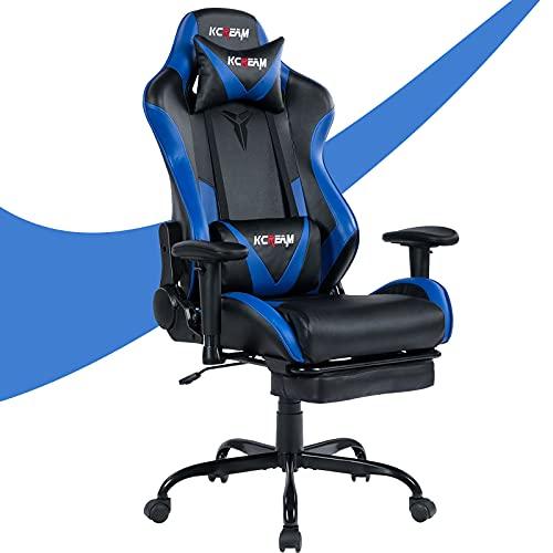 KCREAM E-Sports Stuhl mit Kopfstütze und Lendenkissen PVC-Leder Ergonomischer Gaming-Stuhl mit hoher Rückenlehne Höhenverstellbarer professioneller Gamer-Stuhl (8522-Blau)