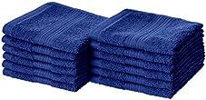 Amazon Basics Fade-Resistant Cotton Washcloth - 12-Pack, Navy Blue