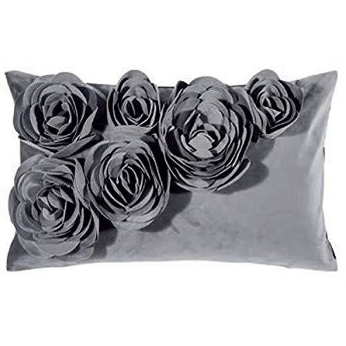 pad - Kissenhülle - Kissen - Kissenbezug - FLORAL - Grau - Polyester - 30 x 50 cm