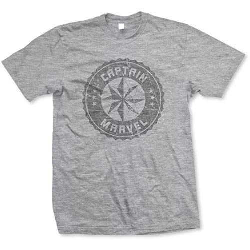 T-Shirt # XL Unisex Captain Marvel Grey Circle [Import]