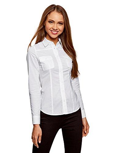 oodji Ultra Donna Camicia Basic in Cotone, Bianco, IT 48 / EU 44 / XL